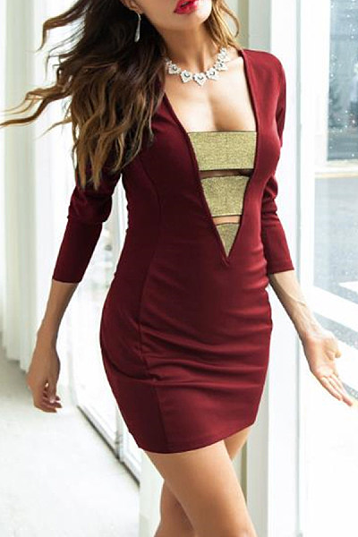 Square Neck  Patchwork  Long Sleeve Bodycon Dresses