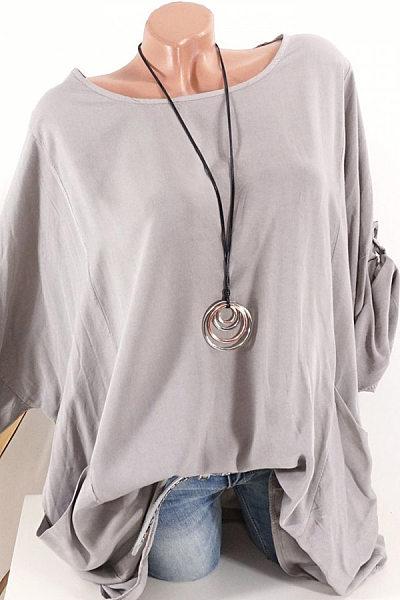 Round  Neck  Patchwork  Brief  Plain  Long Sleeve  Blouse