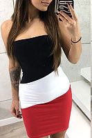 Strapless  Backless  Color Block  Sleeveless Bodycon Dresses