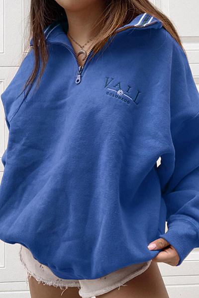 Womens Casual Standing Collar Loose Sweatshirt