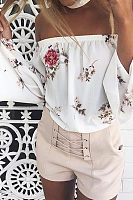Off Shoulder  Exposed Navel  Floral Printed  Bell Sleeve T-Shirts