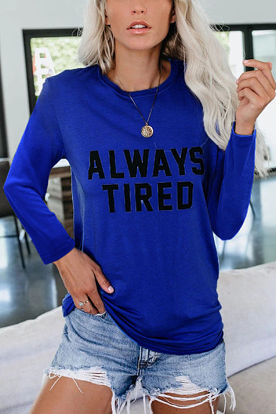 Casual Round Neck Long Sleeve Printed T-Shirt