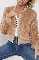 Band Collar  Zipper  Plain Outerwear