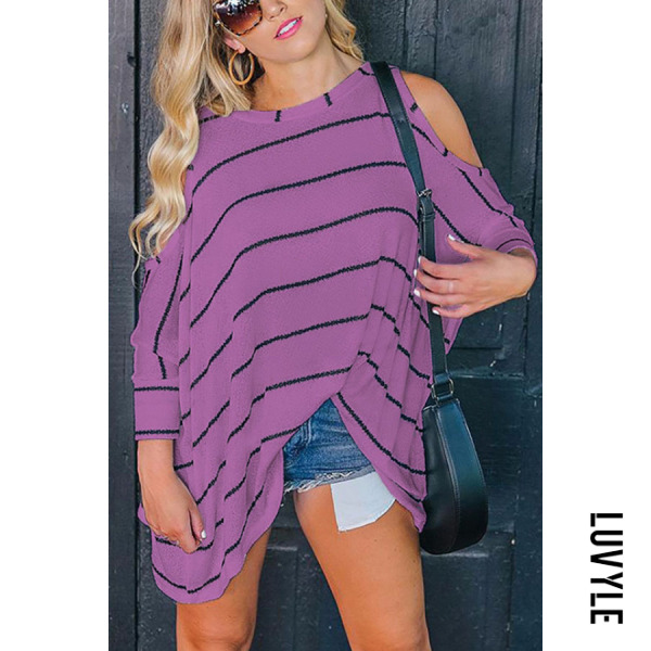 Purple Round Neck Asymmetric Hem Striped Batwing Sleeve T-Shirts Purple Round Neck Asymmetric Hem Striped Batwing Sleeve T-Shirts