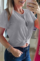 Round Neck  Single Breasted  Plain T-Shirts