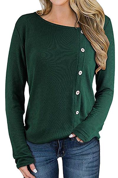 Round Neck Plain Decorative Buttons Long Sleeve T-shirt