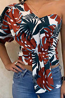 One Shoulder  Print  Blouses
