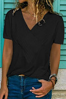 Slim-Fit Stitching V-Neck Short-Sleeved Solid Color T-Shirt