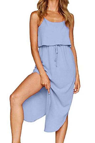 Spaghetti Strap  Drawstring  Plain  Sleeveless Maxi Dresses