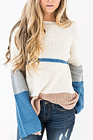 Crew Neck  Patchwork  Casual  Sweaters
