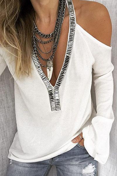 Sexy Deep V-Neck Solid Color Off-Shoulder Flare Sleeve Sequined T-Shirt