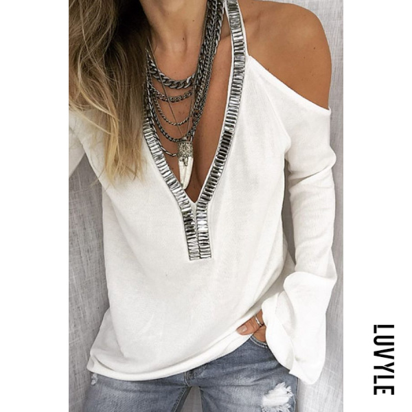 White Sexy Deep V-Neck Solid Color Off-Shoulder Flare Sleeve Sequined T-Shirt White Sexy Deep V-Neck Solid Color Off-Shoulder Flare Sleeve Sequined T-Shirt