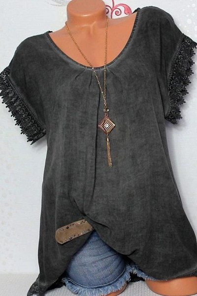Round Neck  Loose Fitting Patchwork  Plain Blouses