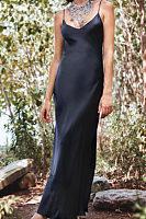 Spaghetti Strap  Slit  Plain  Sleeveless Maxi Dresses