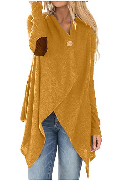Casual solid color asymmetric design button women's cardigan