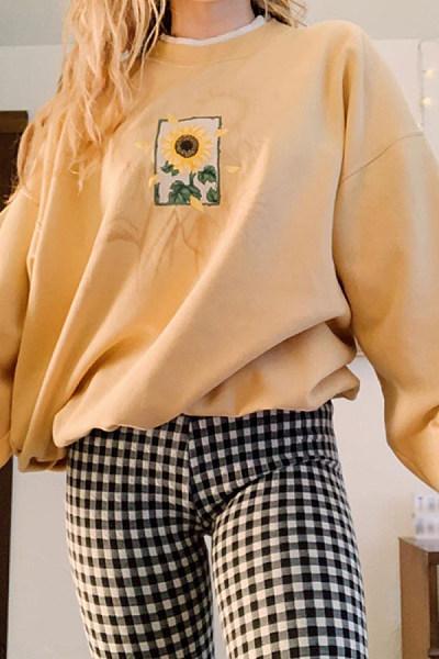 Fashion Women Long Sleeve Flower Printed Sweatshirt