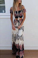 Off Shoulder  Exposed Navel  Tribal Printed  Short Sleeve Maxi Dresses