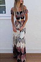Off Shoulder  Exposed Navel  Tribal Printed  Short Sleeve Maxi Dresses
