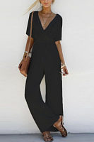 Deep V Neck  Plain  Half Sleeve Jumpsuits