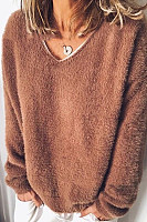 Casual Solid Color V-neck Long-sleeved Sweater