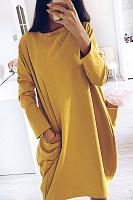 Round Neck Pockets Plain Maxi Dress