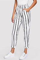Elastic Waist  Striped Pants