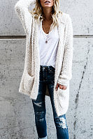 Hooded  Slit Pocket Snap Front  Plain Cardigans