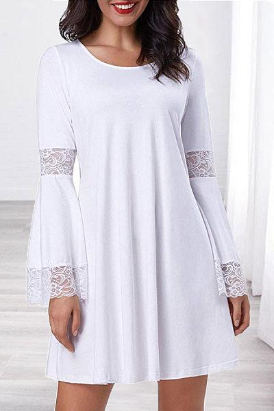 Round Neck Lace-Up Plain Casual Dress