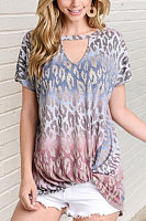 Hollow Out Leopard Short Sleeve T-shirt