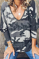 V Neck Camouflage Loose Fitting T-Shirts