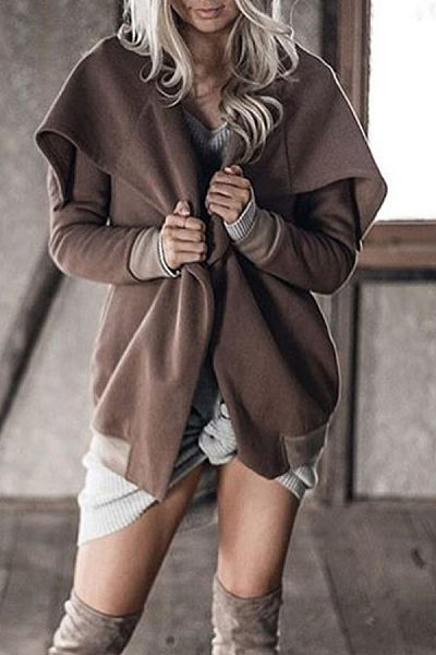 Lapel  Snap Front  Plain Outerwear