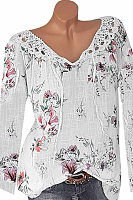 Tie Collar Patchwork Lace Floral Print Long Sleeve Blouse