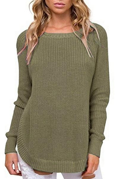 Round Neck Curvy Hem Plain Sweater