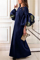 Round Collar Loose Bubble Sleeve Printing Maxi Dress
