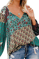 Casual V Neck Floral Pattern Printed Colour Long Sleeve Loose Blouse