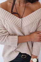 V Neck Solid Knit Sweater