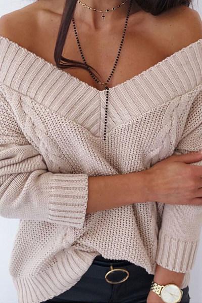 V Neck Solid Knit Sweater