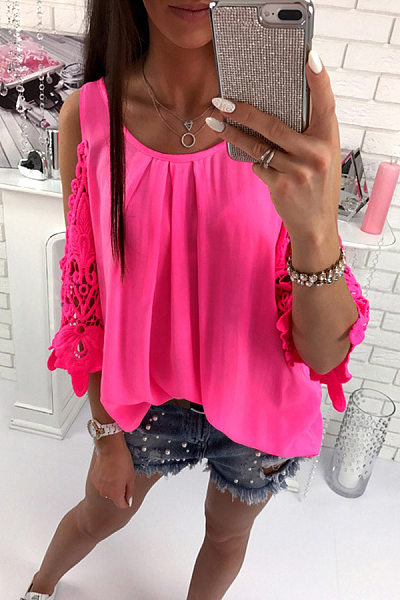 Casual Round Neck Lace Sleeve Shirt