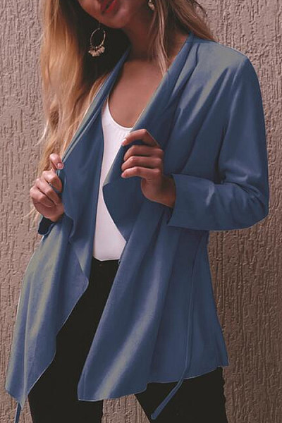 Fold Over Collar  Plain Cardigans