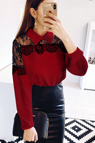 Button Down Collar Lace Patchwork Blouse