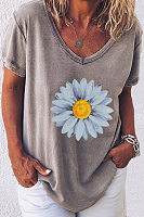 Daisy Printed V Neck Loose T-shirt