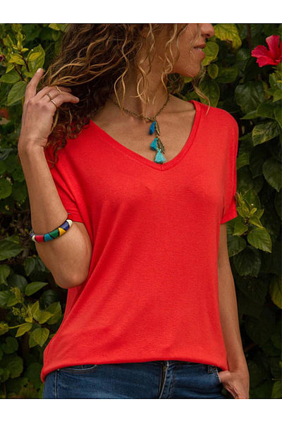 Plain V Neck Short Sleeve Basic T-Shirts