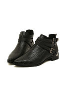 Black Back zipper Flat Point Toe Boots