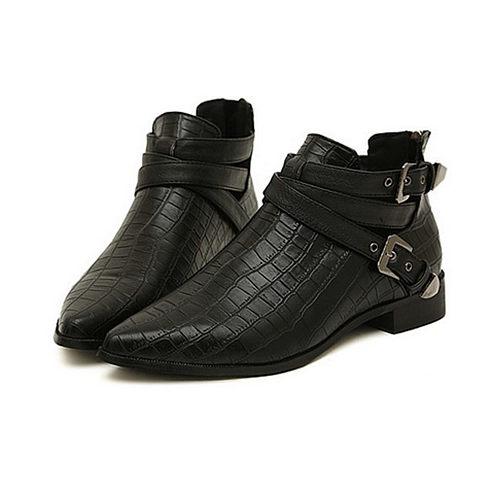 Black Back zipper Flat Point Toe Boots
