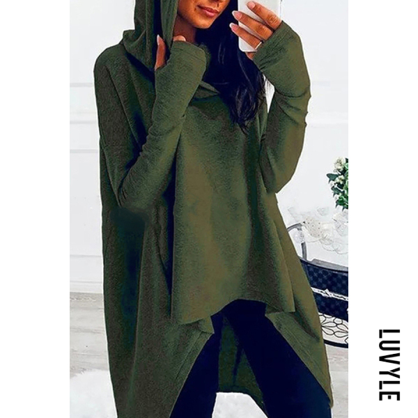 Army Green Loose And Irregular Hem Hoodie Army Green Loose And Irregular Hem Hoodie