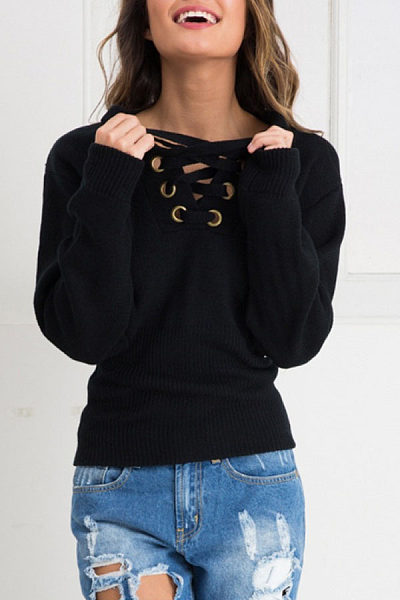 Deep V Neck  Lace Up Metal Eyelet  Plain Sweaters