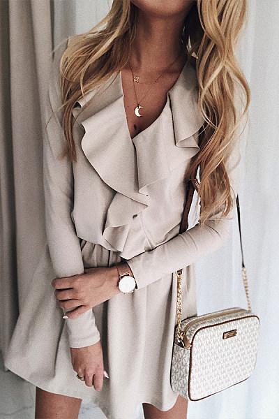 Fashion V Neck Pure Colour Long Sleeve Dress