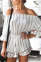 Off Shoulder  Backless  Belt Loops  Stripes  Long Sleeve  Playsuits