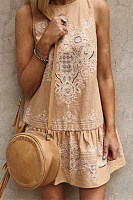Bohemia Embroidery Round Neck Sleeveless Dress