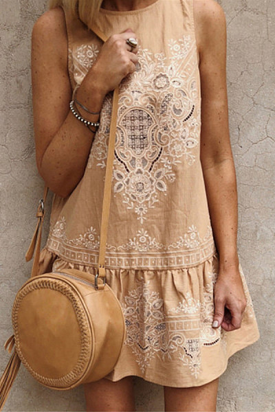 Bohemia Embroidery Round Neck Sleeveless Dress